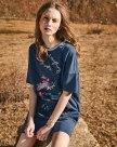 Blue Round Neck Sleeve Pencil Skirt Standard Women's Dress