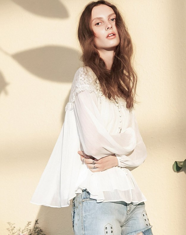 White Plain V Neck Elastic Long Sleeve Standard Women's Shirt