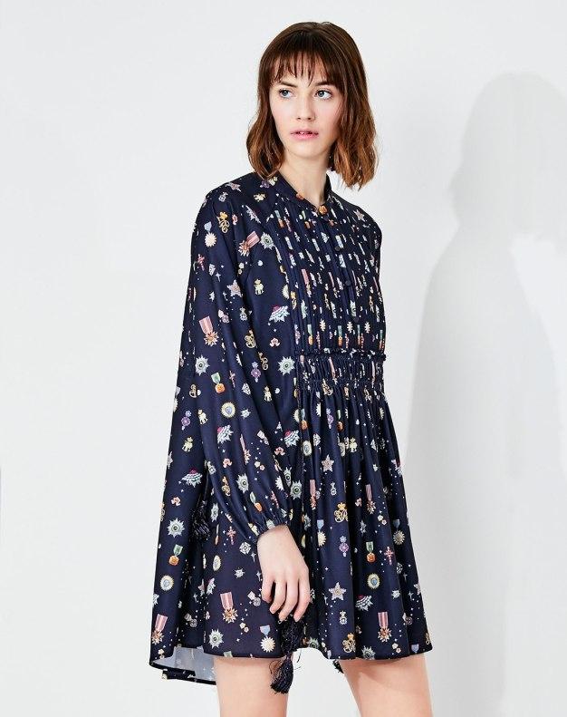 블루 긴소매 주름치마  여성 드레스
