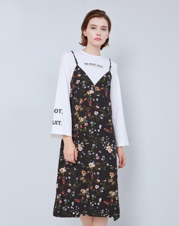 블랙 민소매 비대칭 여성 드레스