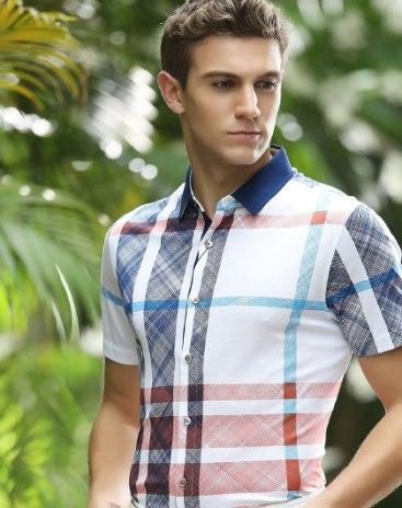 Stripes Pointed Collar Short Sleeve Standard Men's Shirt