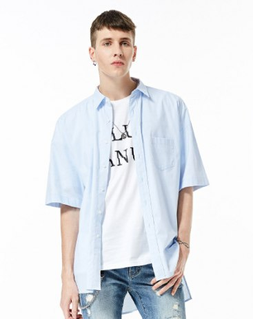 Blue Embroidery Lapel Short Sleeve Standard Men's Shirt