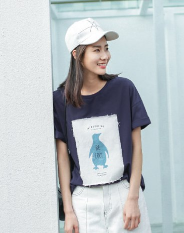 Indigo Animal Round Neck Short Sleeve Standard Women's T-Shirt