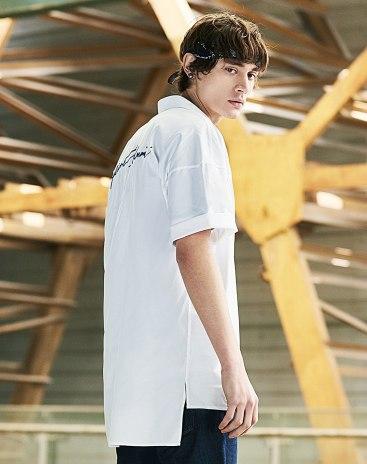 White Embroidery Lapel Short Sleeve Standard Men's Shirt