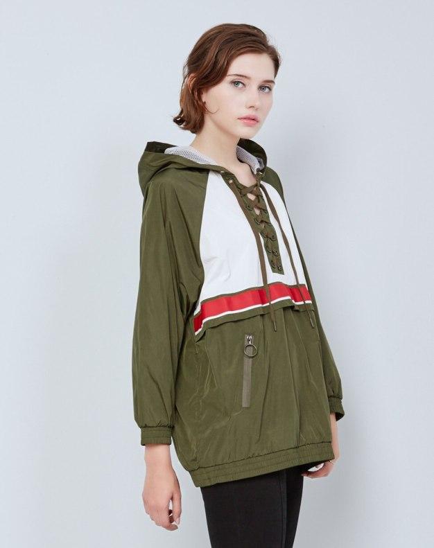 그린 색상 대비  긴소매 슬랙스 여성 맨투맨티셔츠