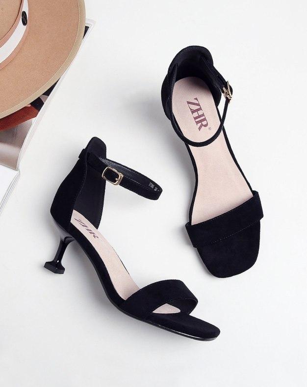Black Middle Heel Women's Sandals
