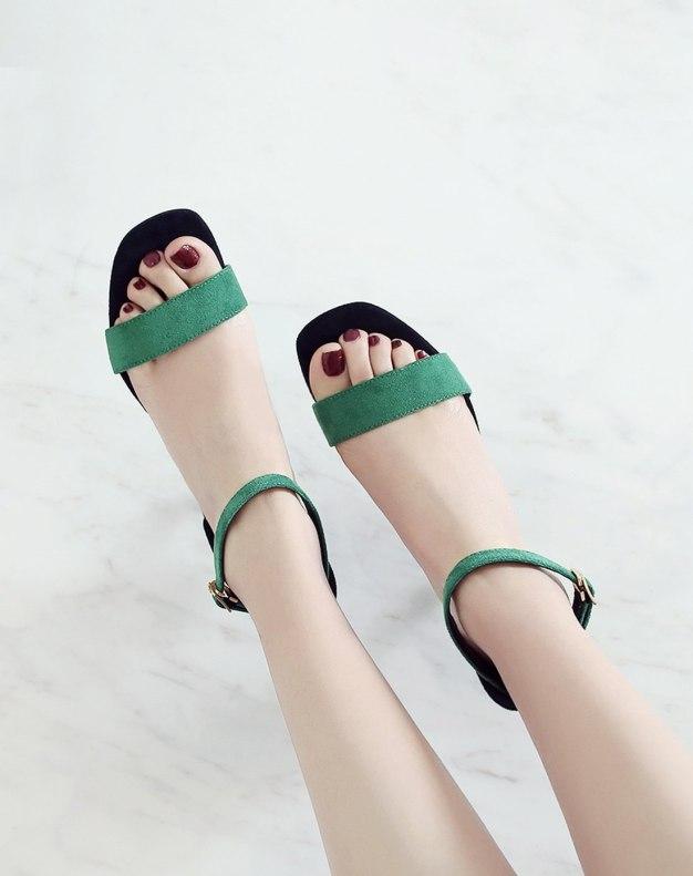 Green Middle Heel Women's Sandals