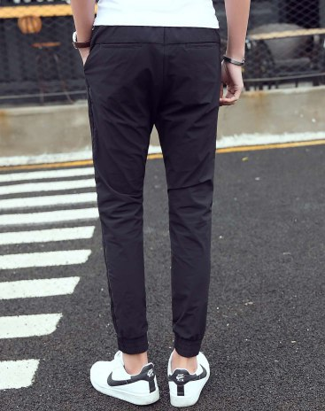 Black Sewing Light Elastic Fitted Long Men's Pants
