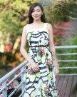 옐로우 민소매 A라인 스커트 여성 드레스