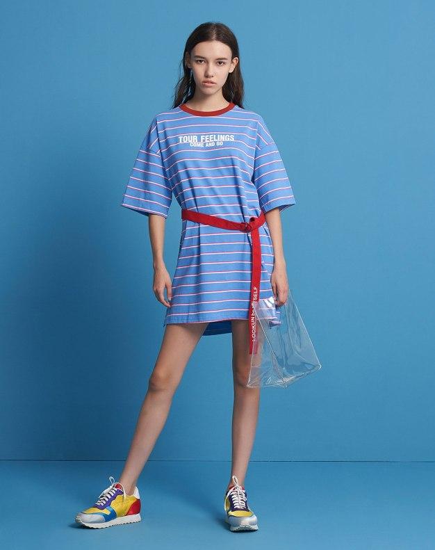 Blue Round Neck Sleeve Loose Women's Dress