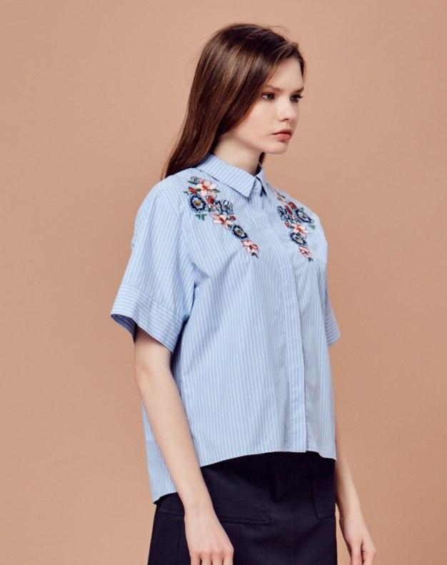 블루 꽃 반팔 티셔츠 표준 여성 블라우스