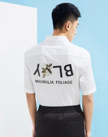 White Letter Lapel Short Sleeve Fitted Men's Shirt