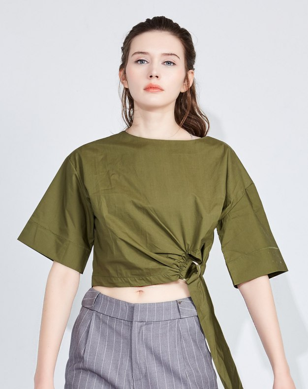 그린 단색의 반팔 티셔츠 표준 여성 블라우스