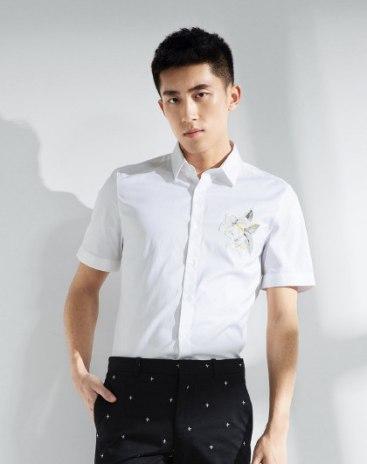 White Plant Lapel Short Sleeve Fitted Men's Shirt