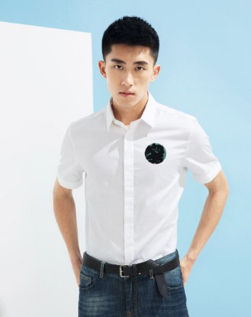 White Contrast Color  Lapel Short Sleeve Fitted Men's Shirt