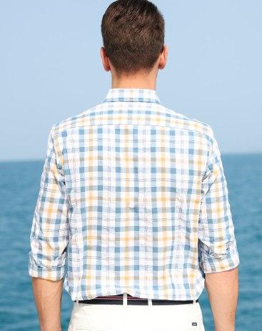 Yellow Lapel Long Sleeve Standard Men's Shirt