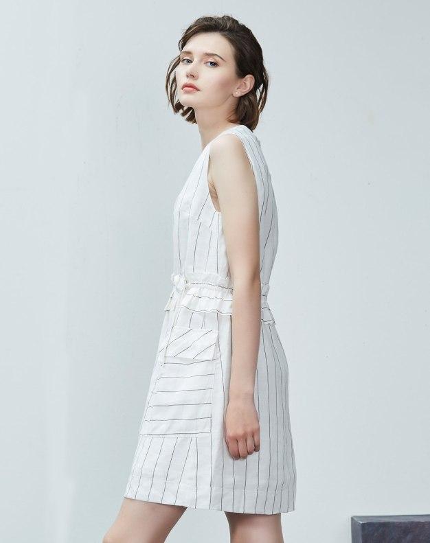 화이트 민소매 랩스커트 여성 드레스