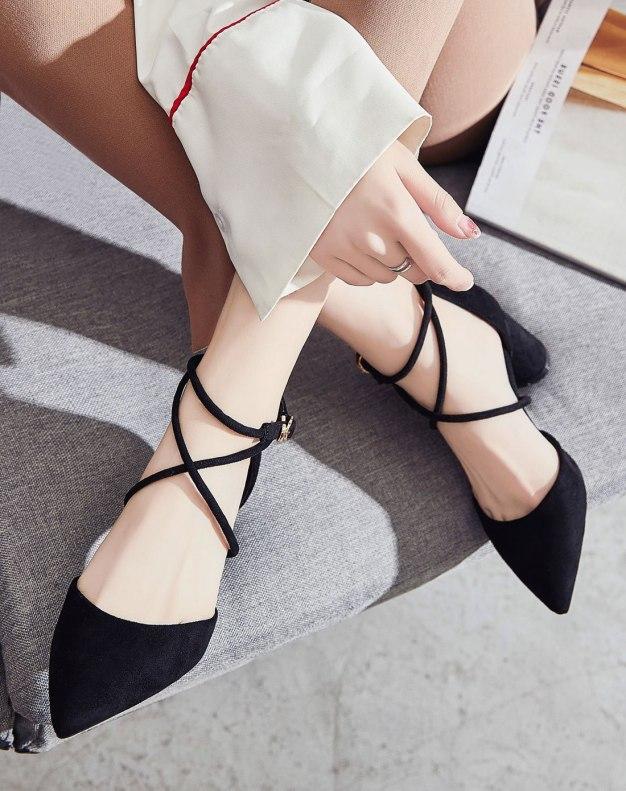 Black Pointed High Heel Women's Sandals