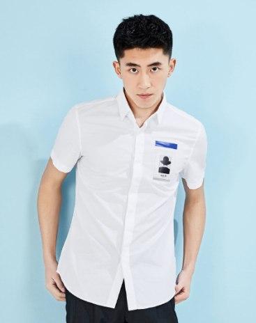 White Print Lapel Short Sleeve Fitted Men's Shirt