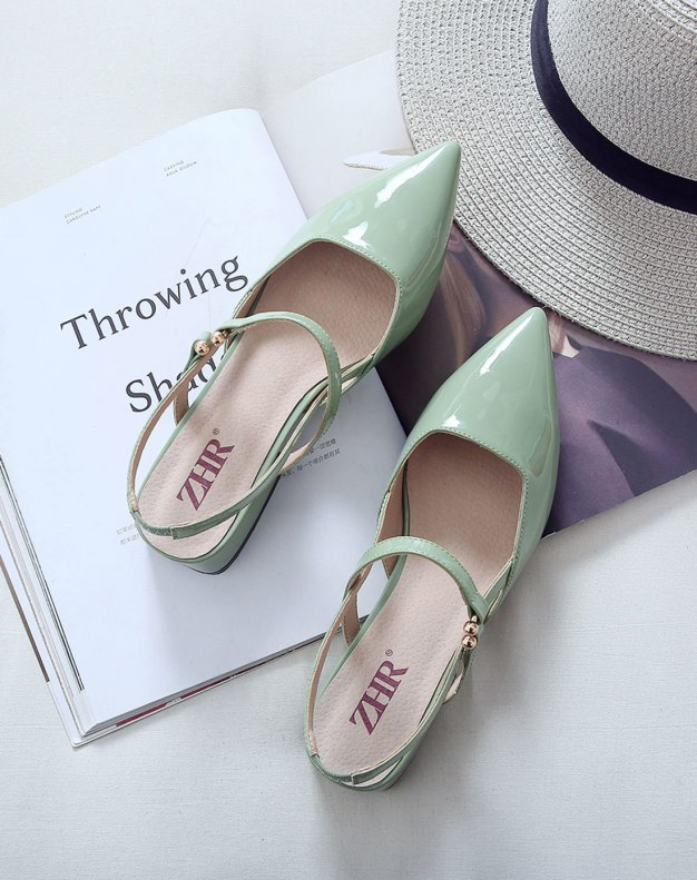 Green Pointed Middle Heel Women's Sandals