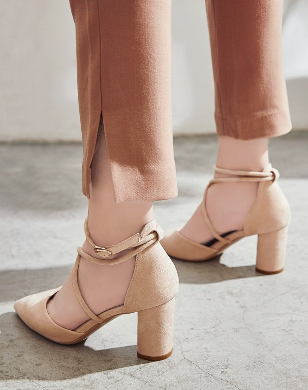 Apricot Pointed High Heel Women's Sandals