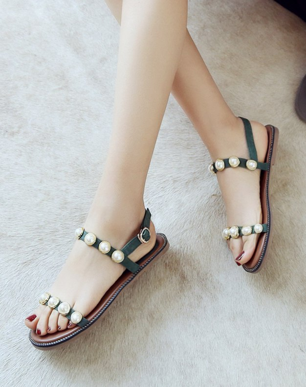 Green Flat Anti Skidding Women's Sandals