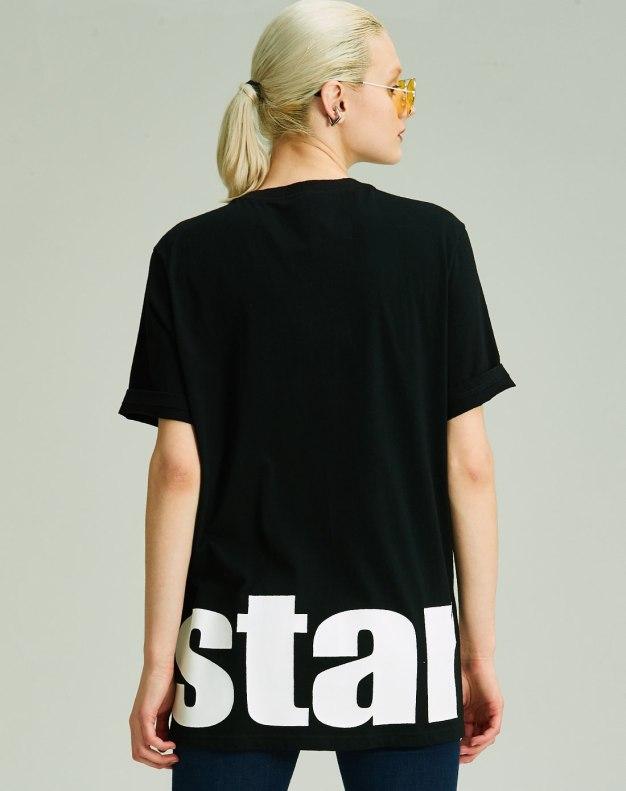 블랙 알파벳 반팔 슬랙스 여성 티셔츠