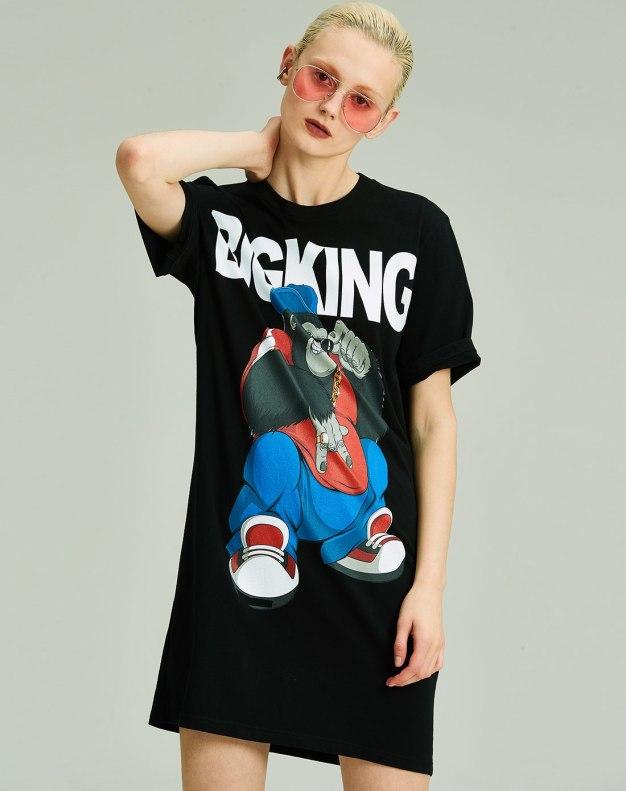 블랙 만화 반팔 슬랙스 여성 티셔츠
