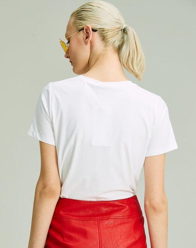 화이트 만화 반팔 표준 여성 티셔츠