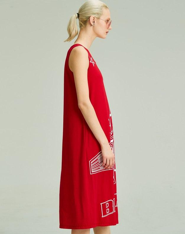 레드 민소매 여성 드레스