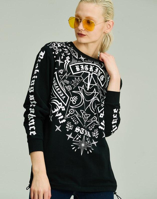 블랙 추상적인 패턴 긴소매 표준 여성 맨투맨티셔츠