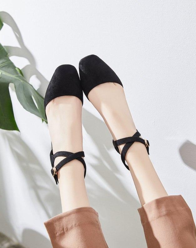 Black Square Toe Middle Heel Women's Sandals