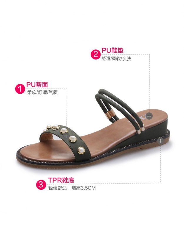 Green Sets Of Toe Flat Anti Skidding Women's Sandals