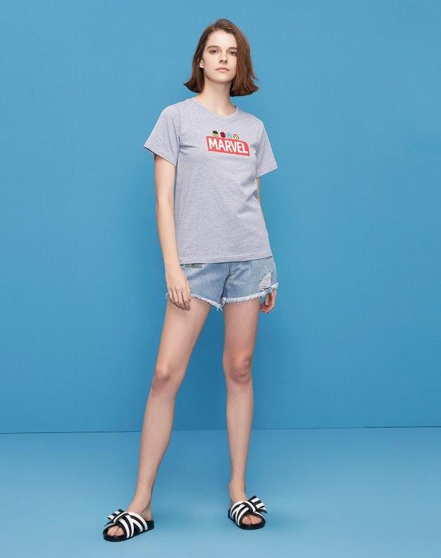 Gray Round Neck Short Sleeve Women's T-Shirt