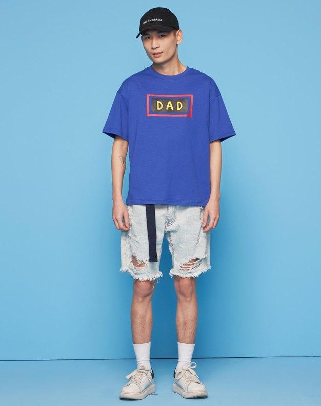 Blue Round Neck Short Sleeve Standard Women's T-Shirt