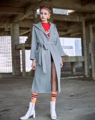 Gray Print Drawstring Type Long Sleeve Loose Women's Sweatshirt