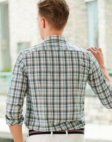 Green Lapel Long Sleeve Standard Men's Shirt