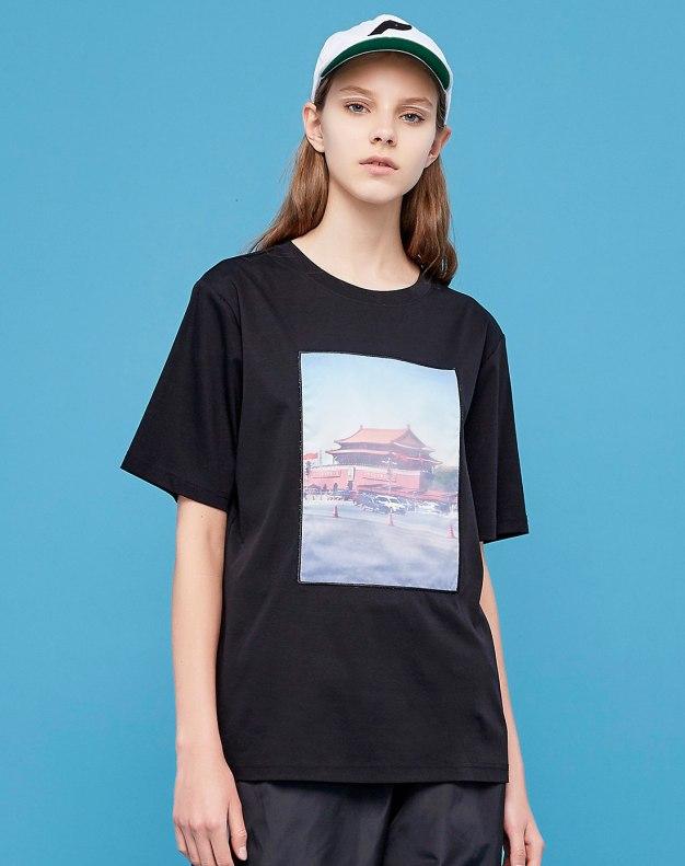 Black Round Neck Short Sleeve Loose Women's T-Shirt