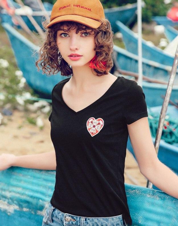 Black Heart V Neck Short Sleeve Fitted Women's T-Shirt