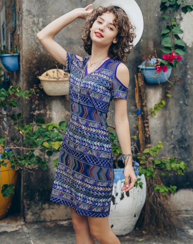 Colourful V Neck Sleeve A Line Standard Women's Dress