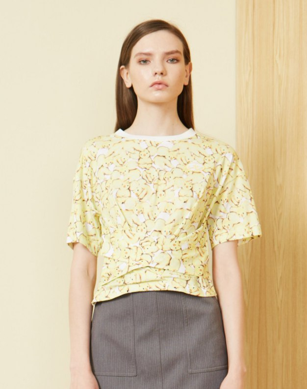 옐로우 플라워 프린트 반팔 표준 여성 티셔츠