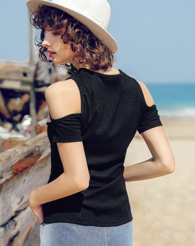Black Off Shoulder Collar Short Sleeve Fitted Women's T-Shirt