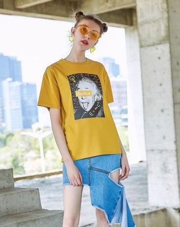 Yellow Round Neck Short Sleeve Loose Women's T-Shirt