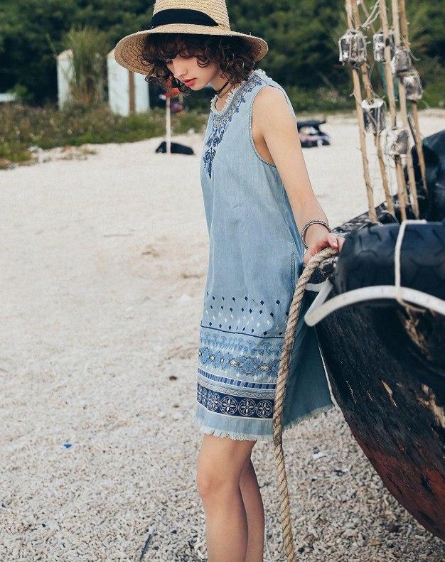 Blue Round Neck Sleeveless Pencil Skirt Standard Women's Dress