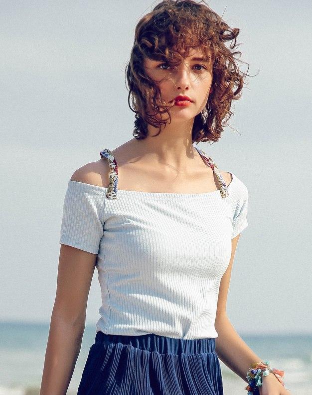 Blue Plain Off Neckline Short Sleeve Fitted Women's T-Shirt