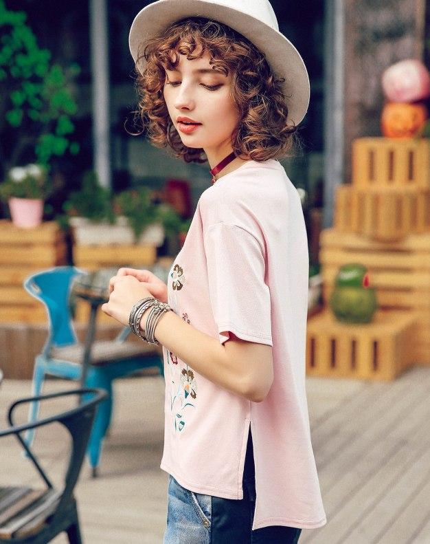 Pink Round Neck Short Sleeve Standard Women's T-Shirt