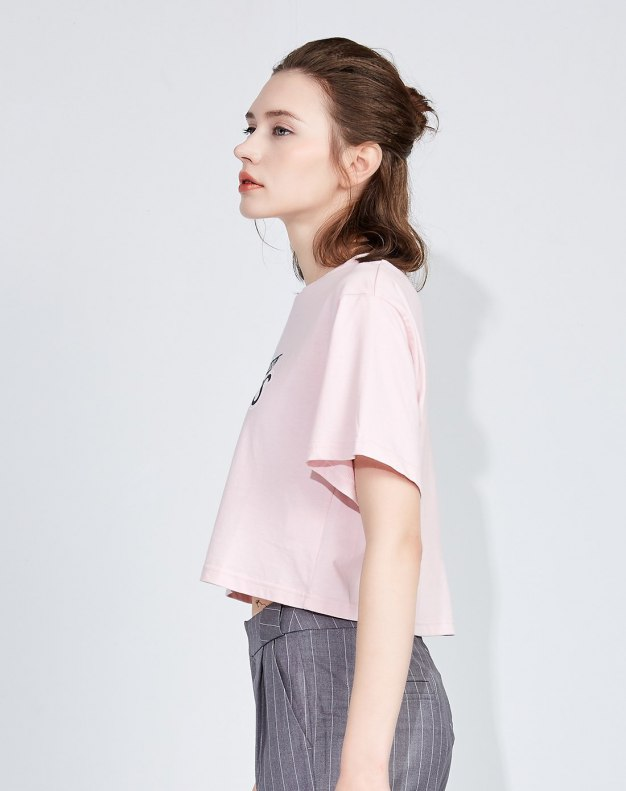 Others1 추상적인 패턴 반팔 슬림핏 여성 티셔츠