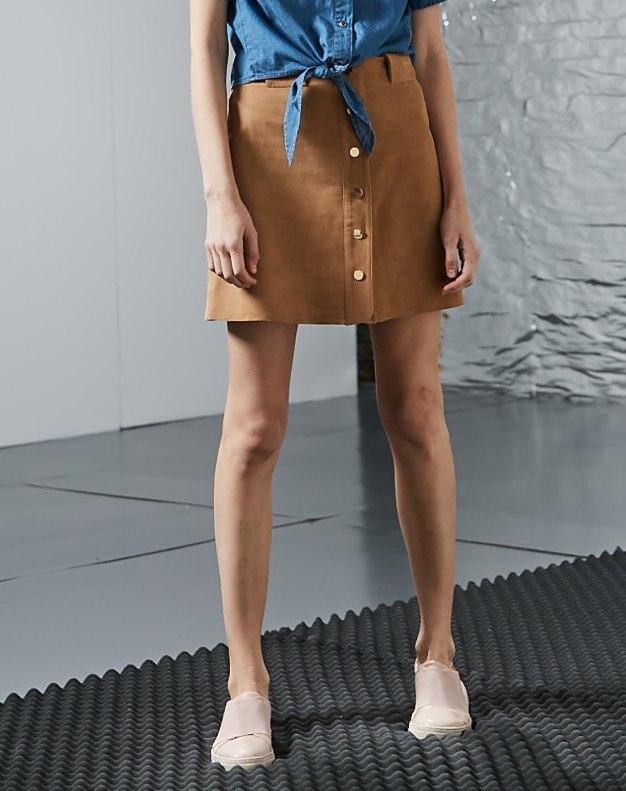 누드톤 짧은 치마 여성 A라인 드레스 스커트