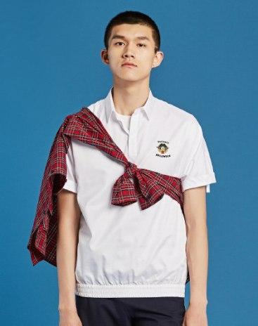 White Embroidery Belt Collar Short Sleeve Standard Men's Shirt