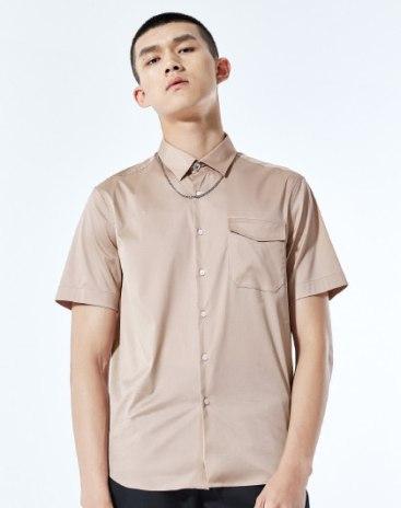 Others1 Plain Stand Collar Short Sleeve Standard Men's Shirt